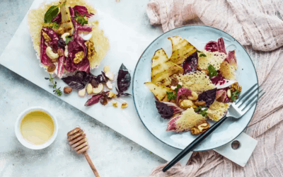 Wafer of Parmigiano Reggiano with Grilled Pears, Radicchio, Mixed Nuts and Honey