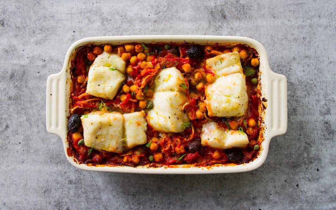Mediterranean Roasted Fish Stew with Chickpeas