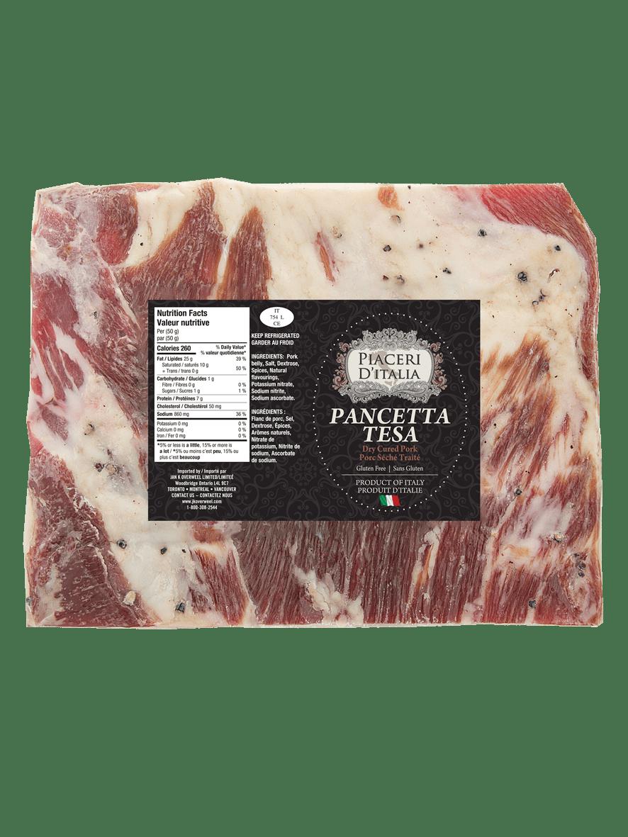 Piaceri D'Italia Pancetta Tesa (Rindless Flat Cured Pancetta)